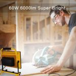 Portable Working Job Site Lights 6000K Daylight White Work Lamp for Workshop Home Remodel Garden Camping Garage[Energy Class A+]
