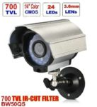 CCTV Camera - BW BW50QS 700TVL HD IR Cut Bullet Camera Day Night Vision Color CMOS Waterproof/Weatherproof Outdoor Video Surveillance Camera for CCTV Security System
